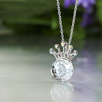 18k white gold gp made with SWAROVSKI crystal pendant party ball crown necklace