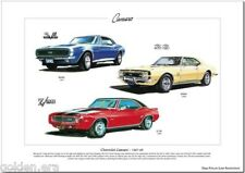 CHEVROLET CAMARO 1967-69 - Fine Art Print - SS396 Turbo-Jet & Z/28 illustrated