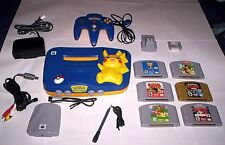 Complete N64 Pokemon Pikachu Console system lot and 7 Classic Nintendo 64 Games