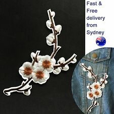 White plum blossom iron on patch twig sakura cherry flowers buds iron-on patches