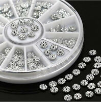 4mm Acrylic Studs Rhinestone Nail Art Wheel Stickers DIY Tip Charms Decor Silver