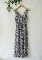 Lucky Brand Women's Sleeveless Tie Waist V Neck Pockets Maxi Floral Dress XS