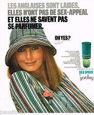 PUBLICITE ADVERTISING 055  1976  YARDLEY  eau de toilette SEA SPRAY  femme