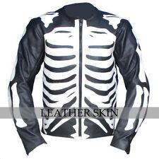 Men Black Skeleton Biker Motorcycle Racing Genuine Leather Jacket