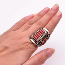 Coral Gemstone Ring Size US 9, Tibetan Silver Women Jewelry TR407
