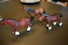 3 X ELC SOLID PLASTIC HORSES - EXMOOR PONY & 2 X SHIRE HORSES - EARLY LEARNING