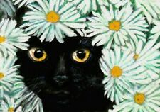 BCB Black Cat Hiding in the Blue Sheets Print of Painting ACEO 2.5 x 3.5 Inches
