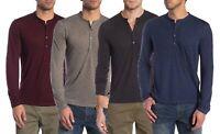 John Varvatos Star USA Men's Striated Linen Blend Long Sleeve Henley Shirt $128