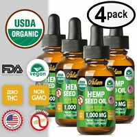 Best Hemp Oil Drops for Pain Relief, Stress, Sleep (PURE ORGANIC) 1000mg  4 PACK