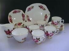 "Fabulous 21 Piece Tea Set in ""Pink Rose"" Design by Duchess."
