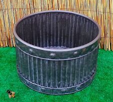 Garden Planter Metal Tub Round Zinc Ribbed Small Pot Patio New