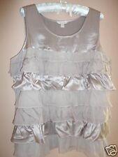 GARNET HILL Top 16 L XL Silk Ruffled Tiers Sterling  Gray NEW $129 Retail