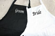 Set of 2 Bride & Groom Grilling Cooking Funny Black & White Barbeque Gift Apron