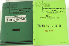 Vintage ONAN TA TB TC TD TE TF Generator GenSet Operators Manual & Parts Catalog