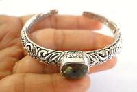 Green Amethyst Prasiolite Balinese 925 Sterling Silver Cuff Bangle Bracelet