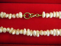 Genuine Cultured Rice Pearl Necklace 9ct Gold Clasp 16 inches long