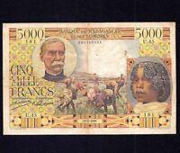 MADAGASCAR  5000  Francs  1950  P-49  aVF