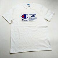 champion mens 100% authentic size large short sleeve t-shirt solid logo white