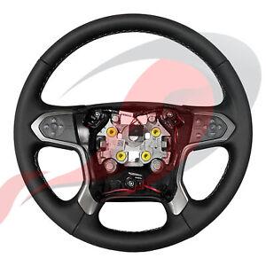 2014-2020 Silverado Suburban Tahoe GM Black Leather Steering Wheel 84483746