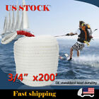 """3/4"""" X200' White Three-Strand Anchor Rope Boat Dock Line Twisted Mooring Thimble"""