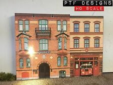 "HO Scale ""POLICE & FIRE DEPARTMENT"" Station Building Flat / Front 3D Background"