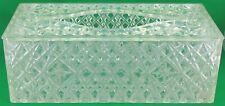 Vtg Clear Starburst Crystal Cut Plastic Acrylic Tissue Box Holder