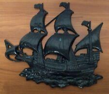 "Vintage Cast Iron Wall Hanging Figural Ship-Nautical Decor 14 1/2"" x 14 1/2"""