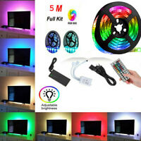 LED Strip Light 5M 16.4ft 5050 RGB SMD Tape Lamp Power Full Remote Kit Controllr