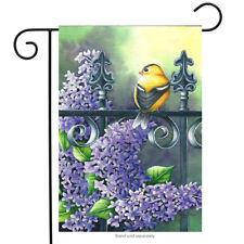 Briarwood Lane Sleeved Garden Flag 12.5x18 Summer Lilacs Bird Flowers Fence New
