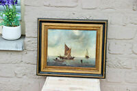 Vintage oil canvas painting fisherman boats maritime 1970s
