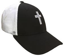 Black & White Christian Cross Mesh Golf Cap Hat Caps Religious Hats God Jesus
