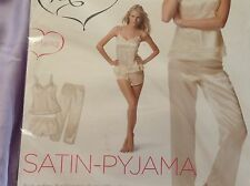 JOLINESSE Ladies 3 Piece Satin Pyjama Set -Top-  Shorts - Pants -M / Ivory Pearl