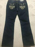 Rue 21 Premiere Jeans 11/12 Short dark wash embellished faded Slim Boot cut