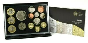 2011 ROYAL MINT BLACK LEATHER CASE DELUXE PROOF £5 - 1p COIN SET