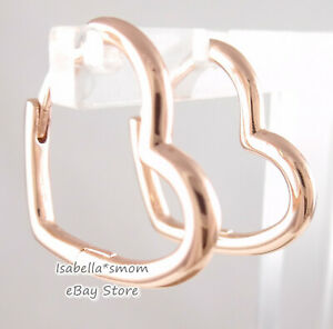 ASYMMETRICAL HEART Authentic PANDORA Rose GOLD Plated Earring HOOPS 288307 NEW