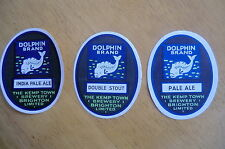 MINT THREE KEMP TOWN BRIGHTON BREWERY  DOLPHIN BRAND BEER BOTTLE LABELS
