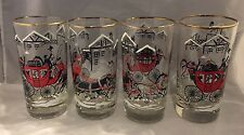 """Vintage Libbey 5 1/2"""" Tall Drinking Glasses Stagecoach Carriage Horses Set 4"""