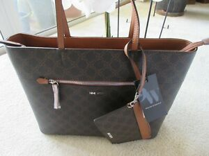 Nine West Brown Extra Large Zipper Tote Bag With Removable Pouch New With Tag