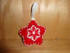 Vintage Felt Red White Hand Made Stitched Snow Flake Christmas Holiday Craft Tre