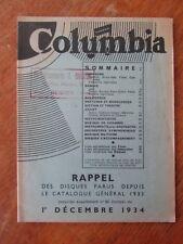 CATALOGUE DISQUES COLUMBIA 1934 GRAMOPHONE PHONOGRAPHE