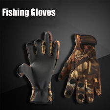 PU Leather Keep Warming Fishing Gloves Breathable Anti-Slip 3 Finger Cut Glove