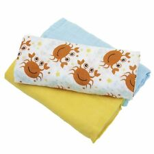 Sensio Baby: Pack of 3 x Soft 100% Cotton Premium Muslin Baby Swaddle Blankets