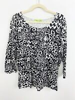 NEW Fresh Plus Size 1X Black White Knit Top 3/4 Sleeves Cotton Casual