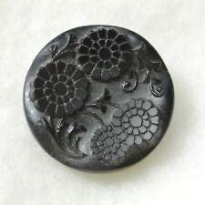 Antique Black Pressed Glass Button Daisy Floral - Unusual Design