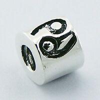 Silver bead zodiac sign Cancer 9mm diameter 925 sterling for charm bracelet