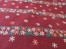 Vtg 80s Calico floral rust warm tone cotton fabric Bthy half yard rows