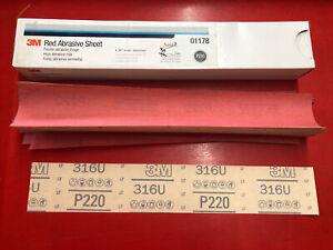 "(1) NEW 3M 01178 RED ABRASIVE HOOKIT FILE 30 SHEETS P220 GRADE 2-3/4"" x 16-1/2"""