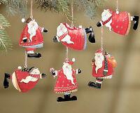 "Wholesale lot 24 Red Tin Metal Santa Christmas Tree Holiday 4"" ornaments"