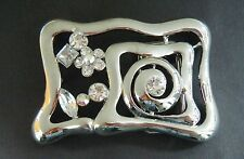 RHINESTONE CHROMED BELT BUCKLE BUCKLE FASHION BOUCLE DE CEINTURE