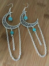 Large Moon Dreamcatcher Earrings Crescent Moon Turquoise Pagan Wiccan Statement